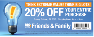 Big Lots Friends and Family Coupon