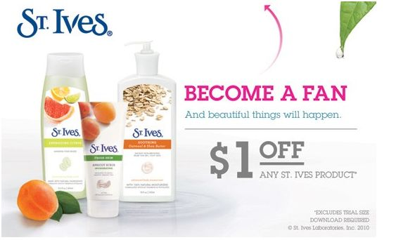 photo regarding St.ives Printable Coupons called Clean $1/1 St. Ives Coupon by Fb