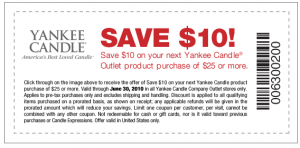 Yankee Candle Outlet Coupon: $10/$25 Purchase