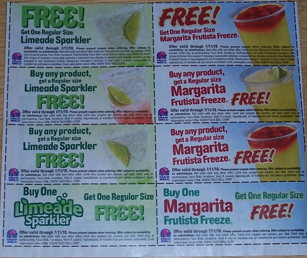 graphic about Taco Bell Printable Coupons titled Taco Bell Coupon in just Decide on Pink Plum Inserts!